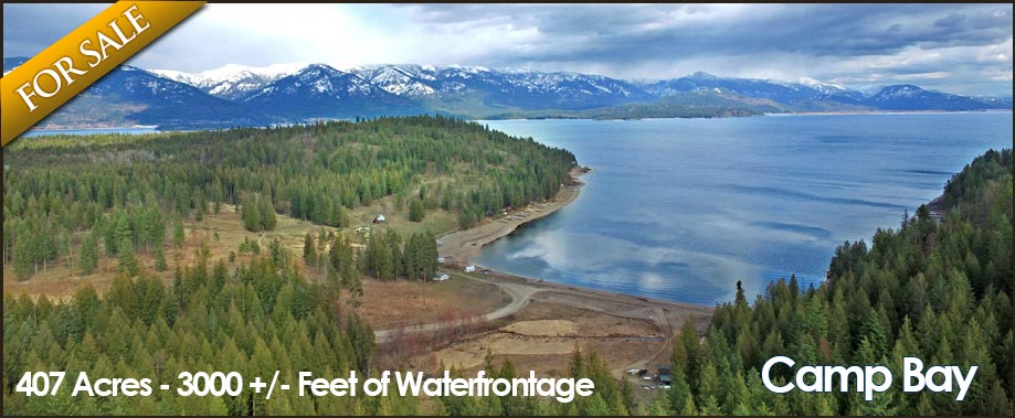 With 407 acres of gently sloped terrain into over 3000 front feet of Lake Pend Oreille, your mind can only imagine what could be done on this stunning property