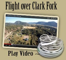 Aerial Viedo flying over Clark Fork, Idaho